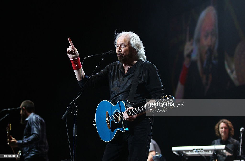 <a gi-track='captionPersonalityLinkClicked' href=/galleries/search?phrase=Barry+Gibb&family=editorial&specificpeople=208122 ng-click='$event.stopPropagation()'>Barry Gibb</a> performs live for fans as part of his Mythology Tour at Sydney Entertainment Centre on February 8, 2013 in Sydney, Australia. Gibb is the last surviving member of The Bee Gees.