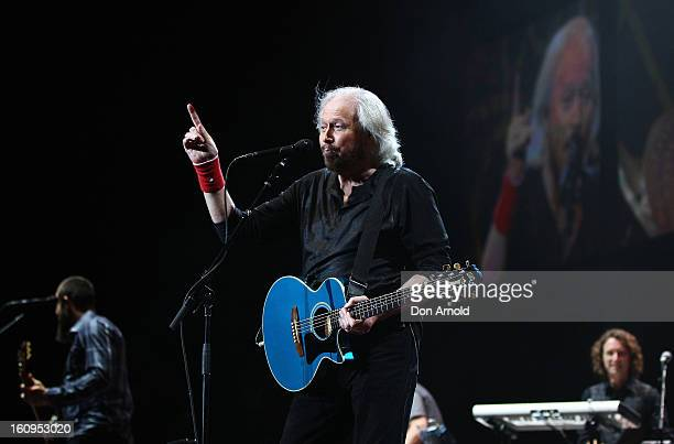 Barry Gibb performs live for fans as part of his Mythology Tour at Sydney Entertainment Centre on February 8 2013 in Sydney Australia Gibb is the...