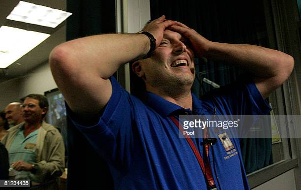 Barry Goldstein JPL Project Manager reacts in the NASA/JPL mission control room as he celebrates the succesful Phoenix Mars Lander spacecraft's...
