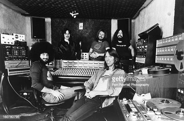 Barry Goudreau Fran Sheehan Brad Delp Sib Hashian and Tom Scholz of the rock group 'Boston' pose for a portrait in the studio in circa 1977