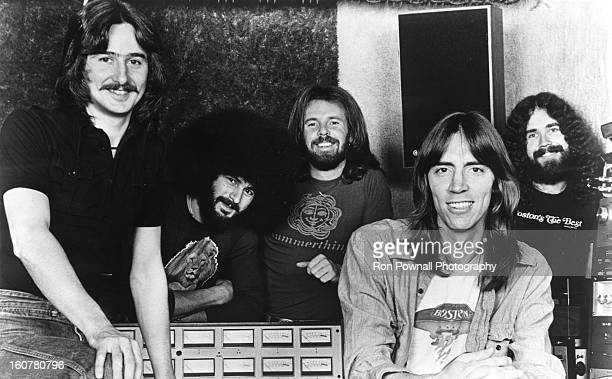 Barry Goudreau Sib Hashian Fran Sheehan Tom Scholz and Brad Delp of the rock group 'Boston' pose for a portrait in the studio in circa 1977