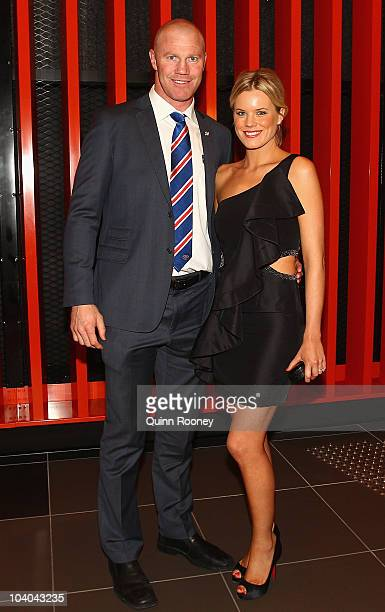 Barry Hall of the Bulldogs and his partner Sophie Raadschelders arrive at the 2010 AFL AllAustralian Awards Dinner at The Melbourne Convention and...
