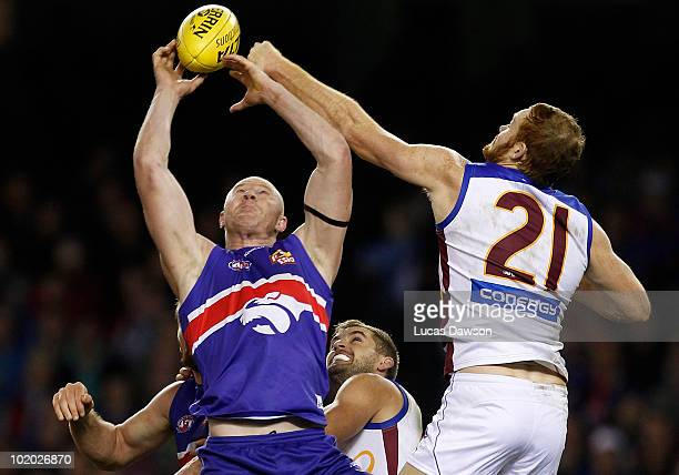 Barry Hall of the Bulldogs attempts a mark during the round 12 AFL match between the Western Bulldogs and the Brisbane Lions at Etihad Stadium on...