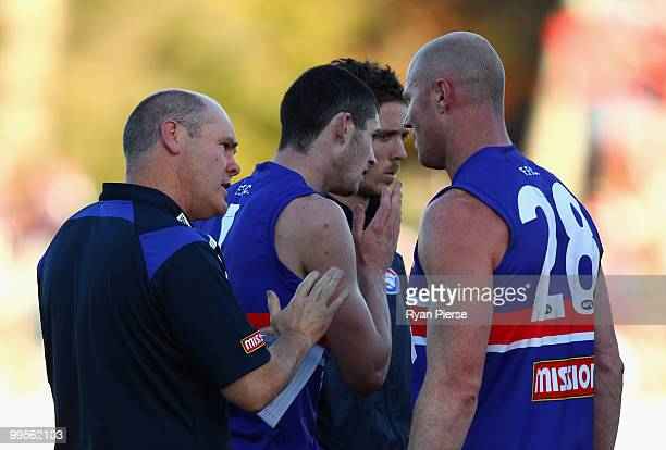 Barry Hall of the Bulldogs is spoken to by Rodney Eade coach of the Bulldogs during the round eight AFL match between the Western Bulldogs and the...