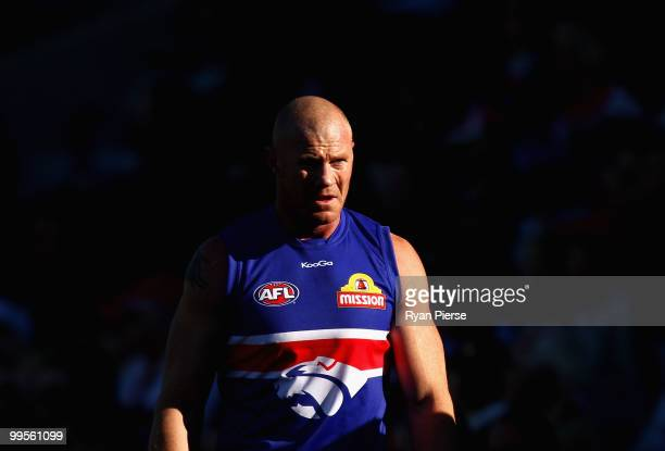 Barry Hall of the Bulldogs looks on from the bench during the round eight AFL match between the Western Bulldogs and the Sydney Swans at Manuka Oval...