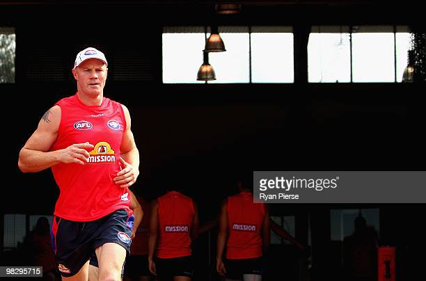 Barry Hall of the Bulldogs runs out onto the ground during a Western Bulldogs AFL training session at the Whitten Oval on April 7 2010 in Melbourne...