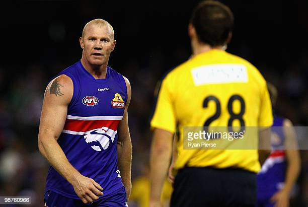 Barry Hall of the Bulldogs stares at upmpire Troy Pannell during the round six AFL match between the Western Bulldogs and the St Kilda Saints at...