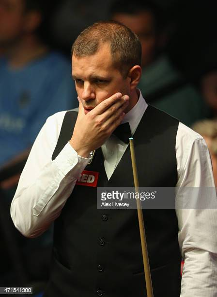 Barry Hawkins looks on against Neil Robertson during day twelve of the 2015 Betfred World Snooker Championship at Crucible Theatre on April 29 2015...