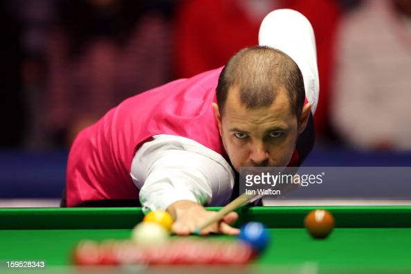 Barry Hawkins of England in action during his first round match against Judd Trump of England at Alexandra Palace on January 15 2013 in London England