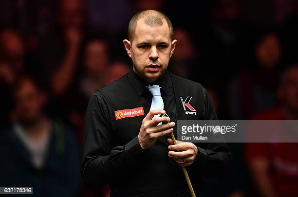 Barry Hawkins of England looks on during his quarter final match against Mark Selby of England on day six of the Dafabet Masters at Alexandra Palace...