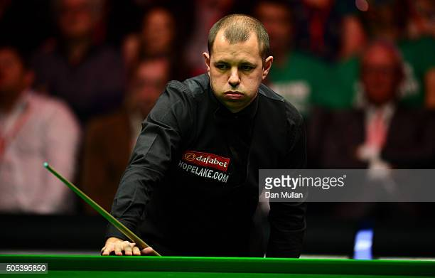 Barry Hawkins of England reacts during the Final match against Ronnie O'Sullivan of England during Day Eight of The Dafabet Masters at Alexandra...