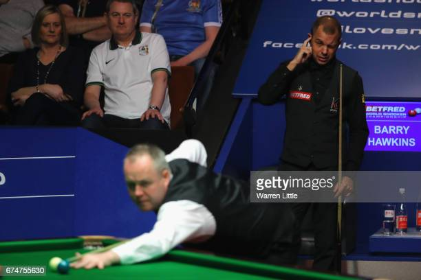 Barry Hawkins of England reacts during the semifinal match against John Higgins of Scotland on day fifteen of Betfred World Championship 2017 at...