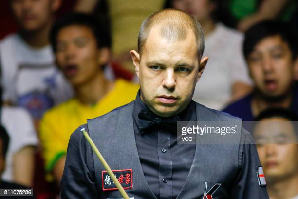 Barry Hawkins of England reacts during the semifinals between China B and England on day 7 of 2017 Snooker World Cup at Wuxi City Sports Park Stadium...