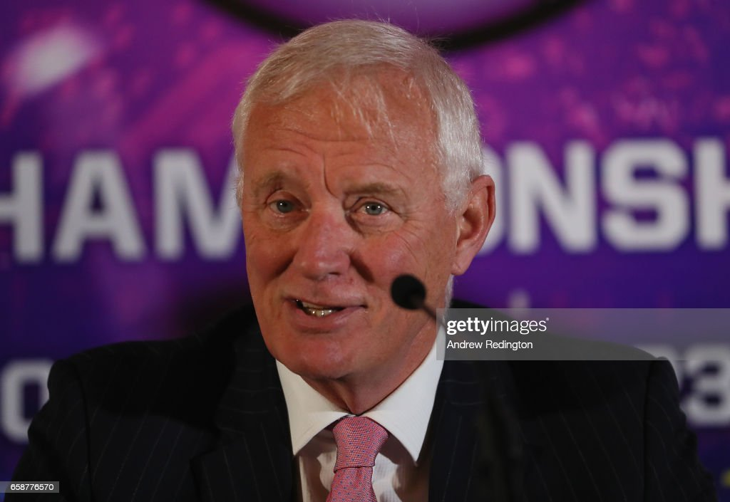 Barry Hearn (Chairman Matchroom Sport) speaks during an announcement by Barry Hearn and Matchroom Sport on March 28, 2017 at the O2 in London, England.
