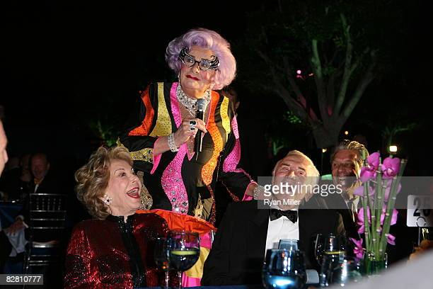 Barry Humphries aka Dame Edna interview Anne and Kirk Douglas with CTG Artistic Director Michael Ritchie attend the grand reopening gala for the Mark...