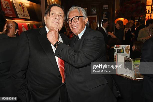 Barry Humphries and Sir David Tang attend a champagne reception to celebrate the launch of 'Mandarin Oriental The Book' by Assouline at Maison...