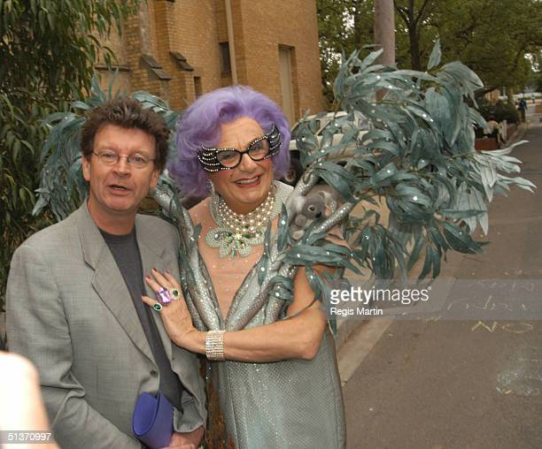 Barry Humphries as Dame Edna with Red Symons at the Union Theatre at Melbourne University where she made her first appearance on 13 December 1955 To...