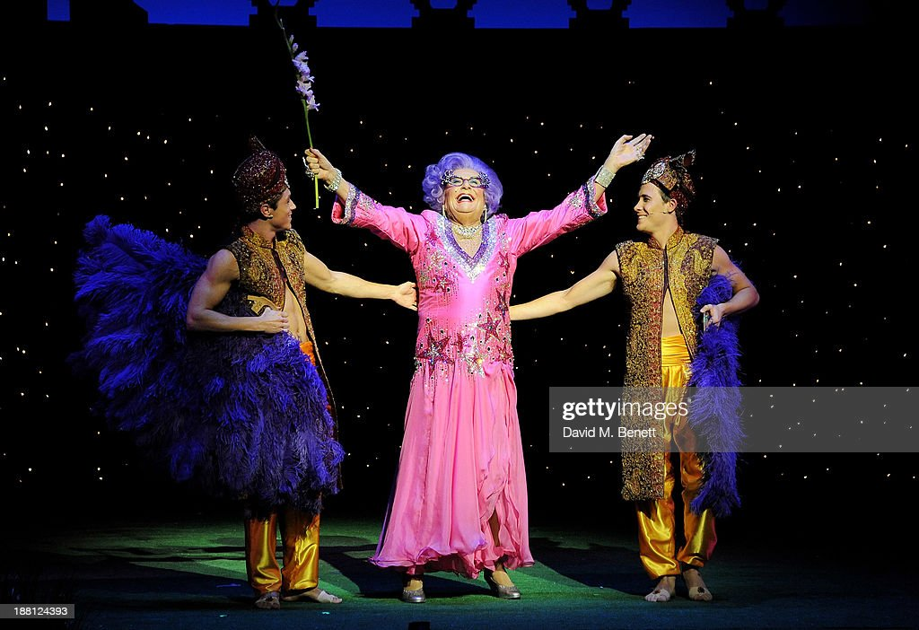 <a gi-track='captionPersonalityLinkClicked' href=/galleries/search?phrase=Barry+Humphries&family=editorial&specificpeople=206650 ng-click='$event.stopPropagation()'>Barry Humphries</a> performs as Dame Edna during the press night performance of '<a gi-track='captionPersonalityLinkClicked' href=/galleries/search?phrase=Barry+Humphries&family=editorial&specificpeople=206650 ng-click='$event.stopPropagation()'>Barry Humphries</a>' Eat, Pray, Laugh!' at the London Palladium on November 15, 2013 in London, England.