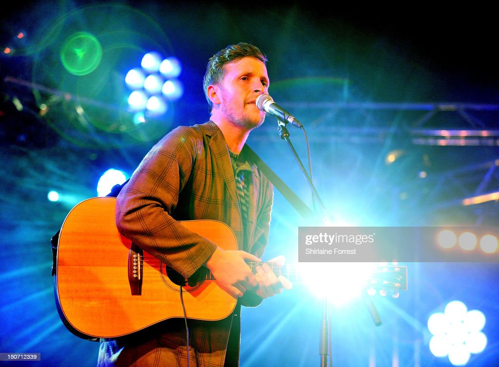 Barry Hyde of The Futureheads performs at Bramham Park on August 24, 2012 in Leeds, England.