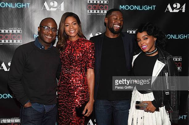 Barry Jenkins Naomie Harris Trevante Rhodes and Janelle Monae attend 'Moonlight' Atlanta screening at Regal Cinemas Atlantic Station Stadium 16 on...