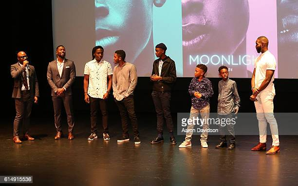 Barry Jenkins Trevante Rhodes Jharell Jerome Ashton Sanders Jaden Piner Alex Hibbert and Tarell Alvin McCraney attend 'MOONLIGHT' Cast Crew Hometown...