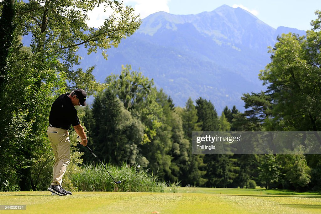 <a gi-track='captionPersonalityLinkClicked' href=/galleries/search?phrase=Barry+Lane&family=editorial&specificpeople=206428 ng-click='$event.stopPropagation()'>Barry Lane</a> of England in action during the the first round of the Swiss Seniors Open played at Golf Club Bad Ragaz on July 1, 2016 in Bad Ragaz, Switzerland.