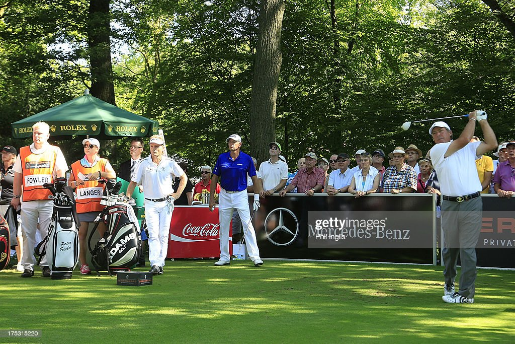 <a gi-track='captionPersonalityLinkClicked' href=/galleries/search?phrase=Barry+Lane&family=editorial&specificpeople=206428 ng-click='$event.stopPropagation()'>Barry Lane</a> of England in action on the 1st tee during the first round of the Berenberg Bank Masters played at Golf- Und Land-Club Koln on August 2, 2013 in Cologne, Germany.