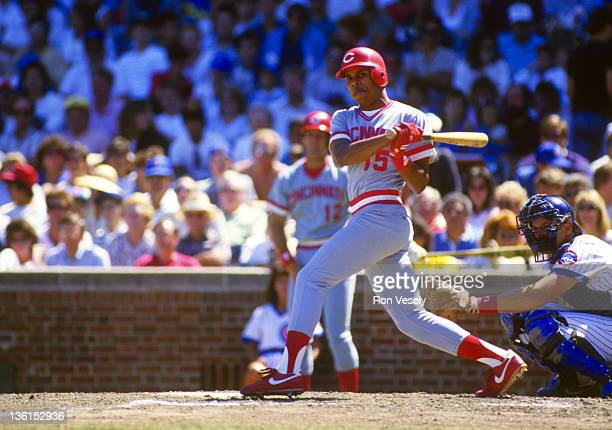Barry Larkin of the Cincinnati Reds bats against the Chicago Cubs during an MLB game at Wrigley Field in Chicago Illinois Larkin made his major...