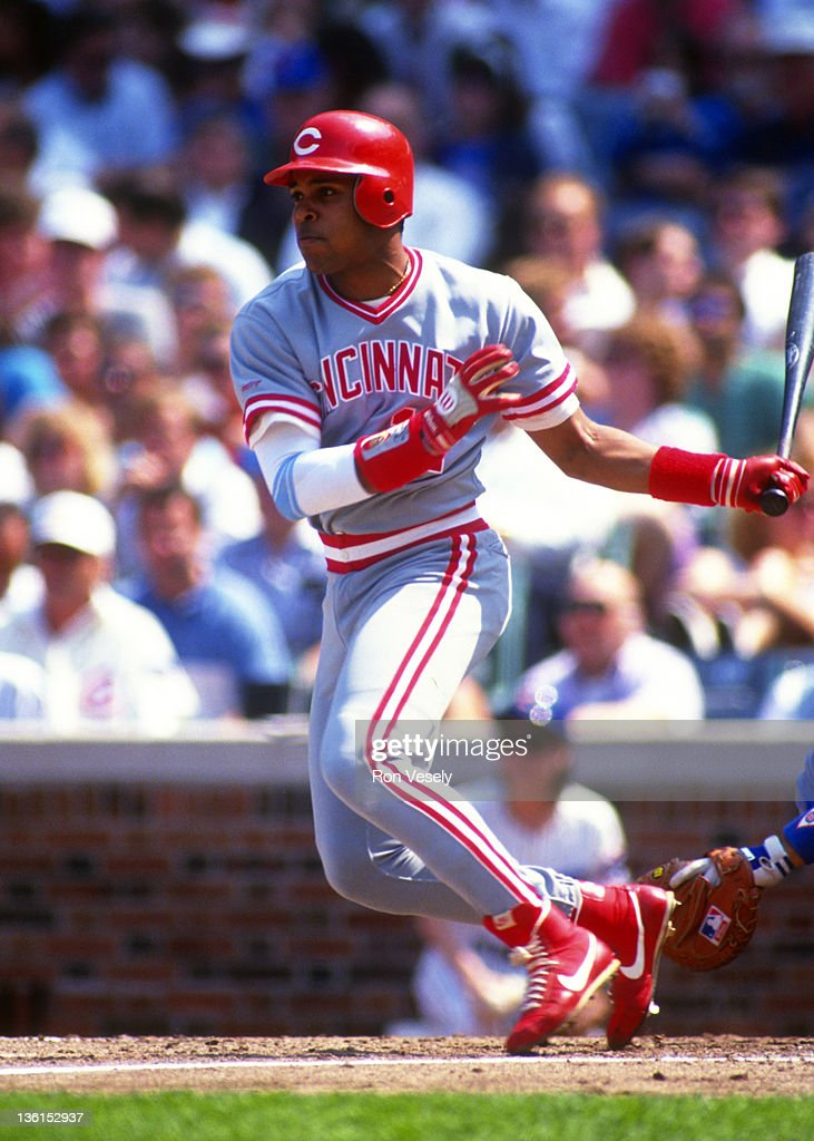<a gi-track='captionPersonalityLinkClicked' href=/galleries/search?phrase=Barry+Larkin&family=editorial&specificpeople=204522 ng-click='$event.stopPropagation()'>Barry Larkin</a> of the Cincinnati Reds bats against the Chicago Cubs during an MLB game at Wrigley Field in Chicago, Illinois. Larkin played for the Reds from 1986-2004.