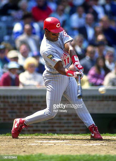 Barry Larkin of the Cincinnati Reds bats against the Chicago Cubs during an MLB game at Wrigley Field in Chicago Illinois Larkin played for the Reds...