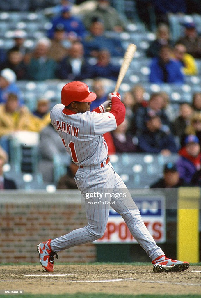 <a gi-track='captionPersonalityLinkClicked' href=/galleries/search?phrase=Barry+Larkin&family=editorial&specificpeople=204522 ng-click='$event.stopPropagation()'>Barry Larkin</a> #11 of the Cincinnati Reds bats against the Chicago Cubs during an Major League Baseball game circa 1996 at Wrigley Field in Chicago, Illinois . Larkin played for the Reds from 1986-04