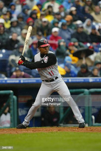 Barry Larkin of the Cincinnati Reds bats against the Philadelphia Phillies during the Phillies home opening game at the Citizens Bank Park against...