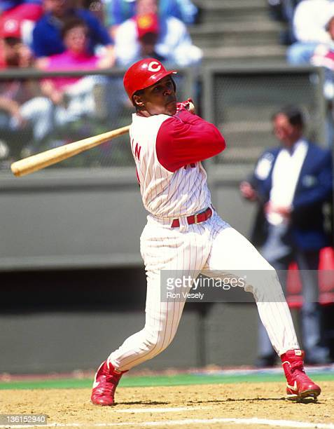 Barry Larkin of the Cincinnati Reds bats during an MLB game at Riverfront Stadium in Cincinnati Ohio Larkin played for the Reds from 19862004