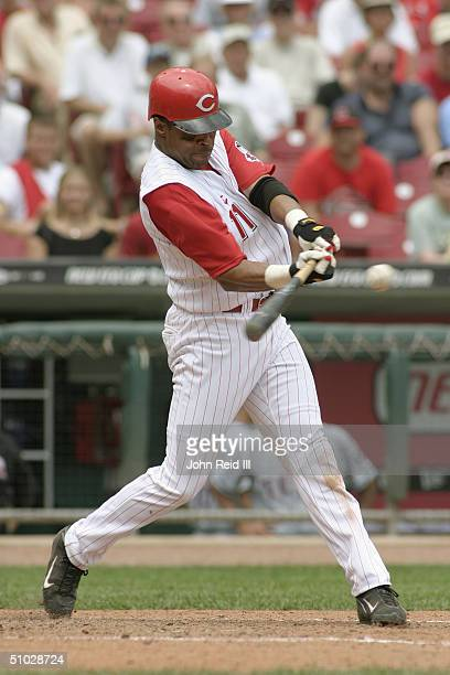 Barry Larkin of the Cincinnati Reds bats during the MLB game against the Texas Rangers at Great American Ball Park on June 17 2004 in Cincinnati Ohio...