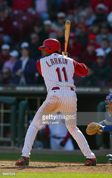 Barry Larkin of the Cincinnati Reds bats during the Reds home opening game against the Chicago Cubs on April 5 2004 at Great American Ballpark in...