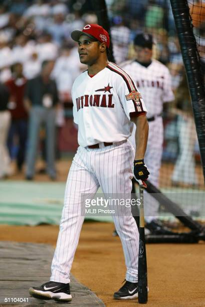 Barry Larkin of the Cincinnati Reds during batting practice at Minute Maid Park on July 12 2004 in Houston Texas