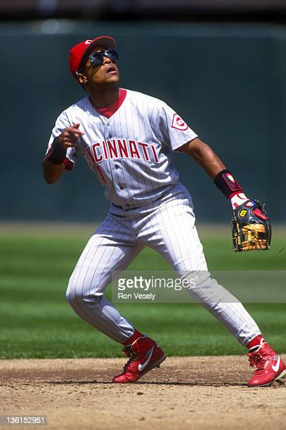 Barry Larkin of the Cincinnati Reds fields during an MLB game at Candlestick Park in San Francisco California Larkin played for the Reds from 19862004