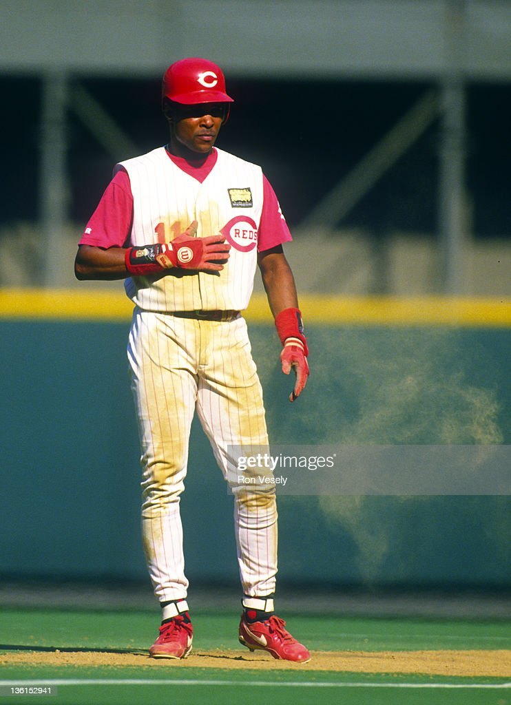 <a gi-track='captionPersonalityLinkClicked' href=/galleries/search?phrase=Barry+Larkin&family=editorial&specificpeople=204522 ng-click='$event.stopPropagation()'>Barry Larkin</a> of the Cincinnati Reds looks on during an MLB game at Riverfront Stadium in Cincinnati, Ohio. Larkin played for the Reds from 1986-2004.