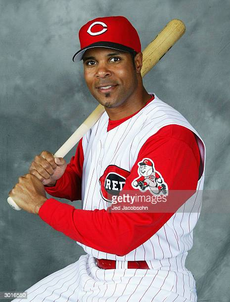 Barry Larkin of the Cincinnati Reds poses for a portrait during the Red's Photo Day at their spring training facility on February 26 2004 in Sarasota...