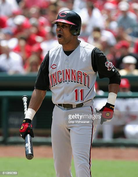 Barry Larkin of the Cincinnati Reds reacts at the plate during the game against the St Louis Cardinals at Busch Stadium on July 5 2004 in St Louis...