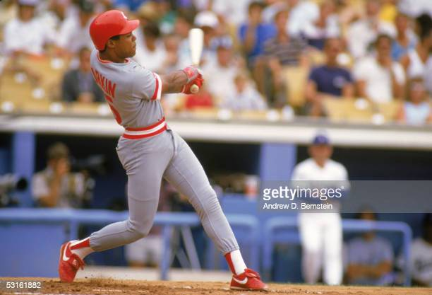Barry Larkin of the Cincinnati Reds swings at the pitch during a 1987 season game Barry Larkin played for the Cincinnati Reds from 19862004
