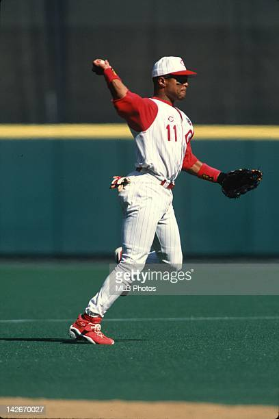 Barry Larkin of the Cincinnati Reds throws the ball during a game during the 1997 regular season at Cinergy Field in Cincinnati Ohio Larkin played...