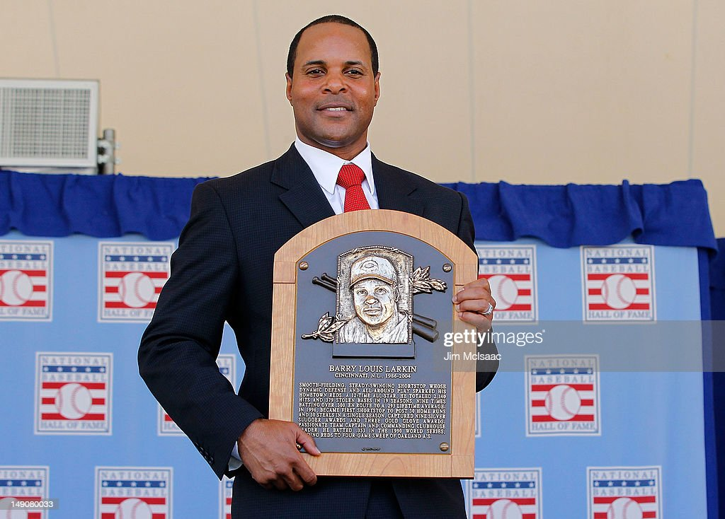 <a gi-track='captionPersonalityLinkClicked' href=/galleries/search?phrase=Barry+Larkin&family=editorial&specificpeople=204522 ng-click='$event.stopPropagation()'>Barry Larkin</a> poses for a photograph with his plaque at Clark Sports Center during the Baseball Hall of Fame induction ceremony on July 22, 2012 in Cooperstown, New York. Larkin played his entire 19 year major league career with the Cincinnati Reds, compiling a .295 average, 2,340 hits, 1,329 runs, 198 home runs, 960 runs batted in and stole 379 bases. He was named to 12 All-Star games and was the 1995 National League MVP. Larkin was also a member of the 1990 World Series championship team.
