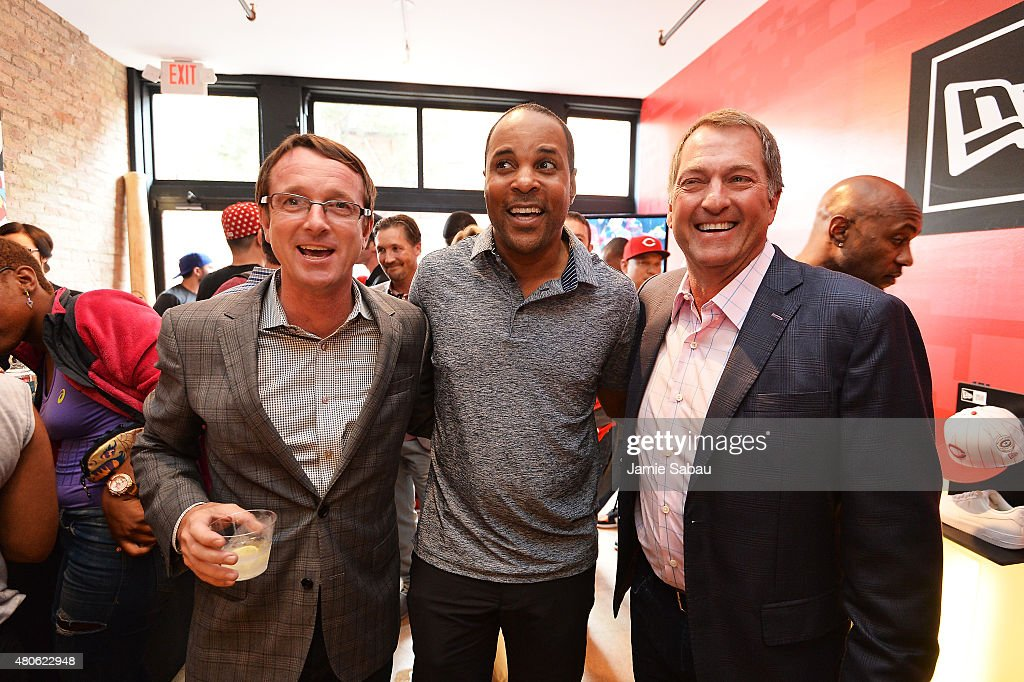 <a gi-track='captionPersonalityLinkClicked' href=/galleries/search?phrase=Barry+Larkin&family=editorial&specificpeople=204522 ng-click='$event.stopPropagation()'>Barry Larkin</a> (C) poses with Paul McAdam of New Era (L) and Chris Koch, owner of New Era during the New Era & Corporate/BTS Presents 'REDStory' event on July 13, 2015 in Cincinnati, Ohio.