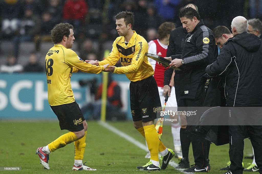 Barry Maguire of VVV-Venlo (L), Kaj Ramsteijn of VVV-Venlo (C) during the Dutch Eredivisie match between VVV-Venlo and Ajax Amsterdam at stadium De Koel on february 3, 2013 in Venlo, The Netherlands