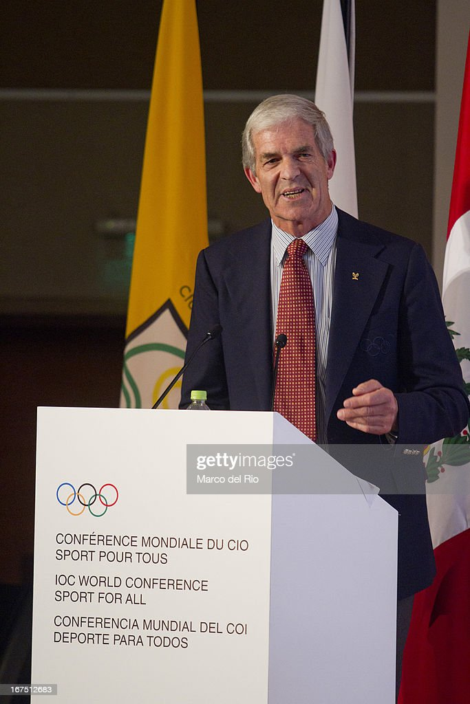 Barry Maister, IOC member, vice president of the Oceania National Olympic Committees during plenary lecture of the Second Day of the 15th IOC World Conference Sports For All at the Auditorim of the Daniel Alcides Convention Centre on April 25, 2013 in Lima, Peru.