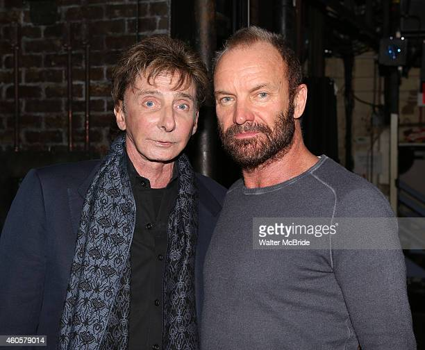 Barry Manilow visits Sting and the cast of 'The Last Ship' at The Neil Simon Theatre on December 16 2014 in New York City
