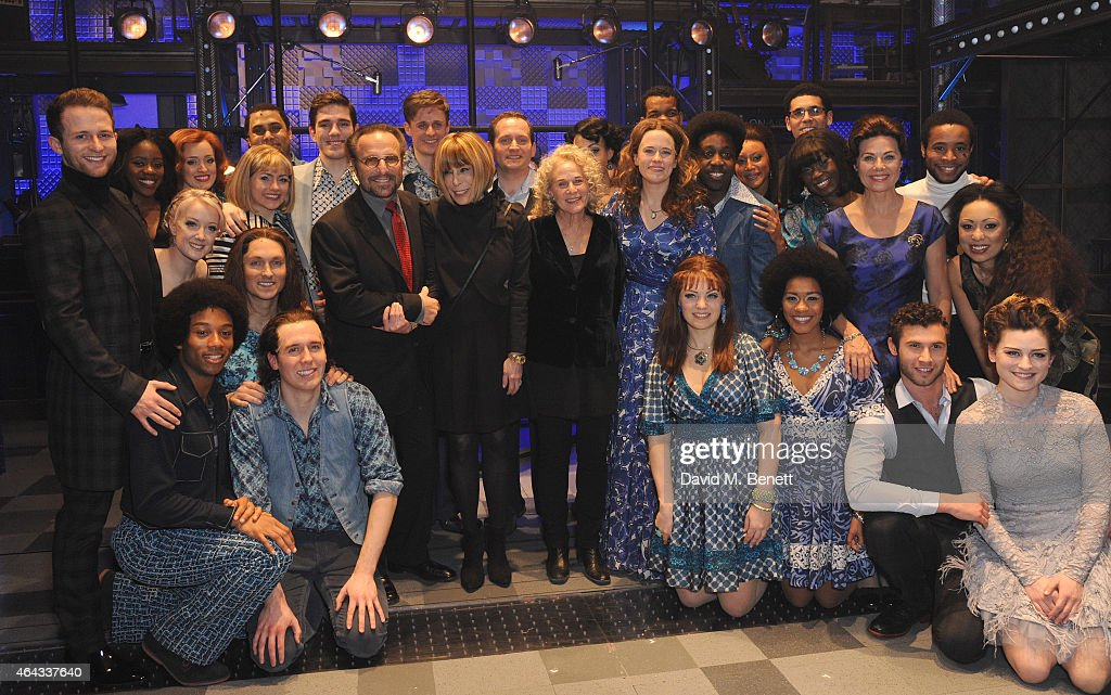Barry Mann, Cynthia Weil, Carole King (C) and Cast bows at the curtain call during the press night performance of 'Beautiful: The Carole King Musical' at the Aldwych Theatre on February 24, 2015 in London, England.