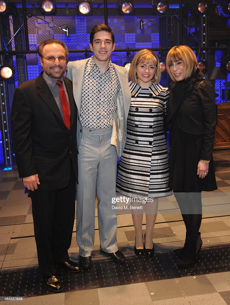 Barry Mann, Ian McIntosh, Lorna Want and Cynthia Weil bows at the curtain call during the press night performance of 'Beautiful: The Carole King Musical' at the Aldwych Theatre on February 24, 2015 in London, England.
