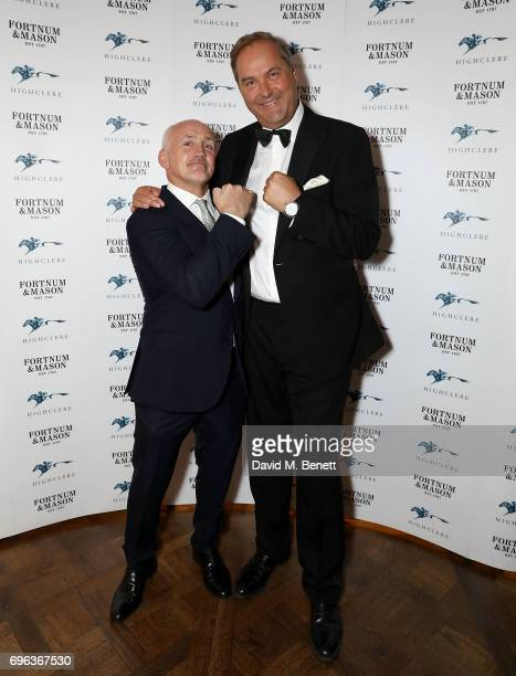 Barry McGuigan and Harry Herbert attends the Highclere Thoroughbred Racing Royal Ascot Dinner at Fortnum Mason on June 15 2017 in London England